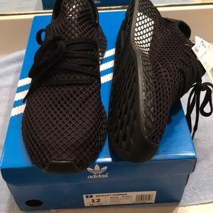 """Adidas Deerupt Runner """"Double Black"""" Size 12 NEW"""